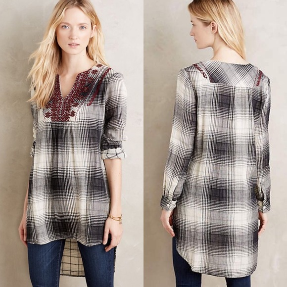 Anthropologie Tops - Anthropologie Floreat Embroidered Flannel Tunic